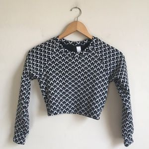 American Apparel Jacquered Crop Long Sleeve XS
